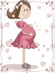 pregnancy-cartoon-vector-hand-drawn-illustration-pregnant-young-woman-cute-character-swirl-page-borders-perfect-323101081-228x300