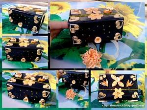Cutie de bijuterii decorata manual
