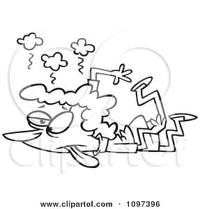 1097396-Clipart-Outlined-Stampeded-Tired-Mom-Crushed-On-The-Floor-Royalty-Free-Vector-Illustration